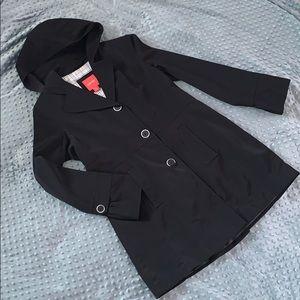 Women's black coat.